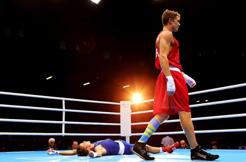 LONDON, ENGLAND - AUGUST 07: Alexis Vastine of France looks dejected after defeat to Taras Shelestyuk of Ukraine during the Men's Welter (69kg) Boxing on Day 11 of the London 2012 Olympic Games at ExCeL on August 7, 2012 in London, England. (Photo by Scott Heavey/Getty Images)