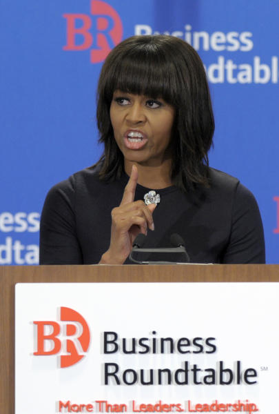 First lady Michelle Obama speaks to the quarterly meeting of member Chief Executive Officers of the Business Roundtable in Washington, Wednesday, March 13, 2013. Obama continued her call on the private sector to hire America's veterans and military spouses, and help them reach their full potential within America's companies. (AP Photo/Susan Walsh)
