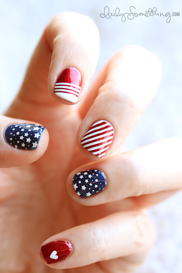 "<p>Wear your heart on both your sleeve and your accent nail! Putting it in a new spot by popping a heart on your pinky shows your love for this country in the cutest way possible.</p><p><a class=""link rapid-noclick-resp"" href=""https://www.amazon.com/dp/B008216IL4/?tag=syn-yahoo-20&ascsubtag=%5Bartid%7C10055.g.1278%5Bsrc%7Cyahoo-us"" rel=""nofollow noopener"" target=""_blank"" data-ylk=""slk:SHOP STAMPING PLATE"">SHOP STAMPING PLATE</a></p><p><em><a href=""http://dailysomething.com/patriotic-4th-of-july-manicure/"" rel=""nofollow noopener"" target=""_blank"" data-ylk=""slk:See more on Daily Something »"" class=""link rapid-noclick-resp"">See more on Daily Something »</a></em> </p>"