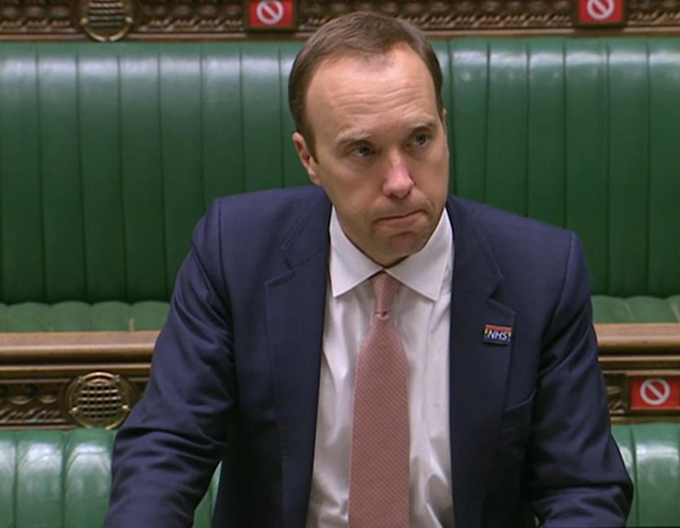 Health Secretary Matt Hancock delivers a ministerial statement on COVID-19 in the House Of Commons, London.