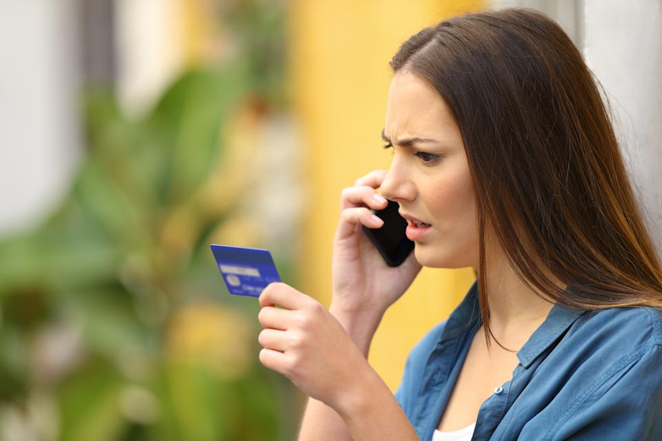 Angry online shopper complaining talking on phone
