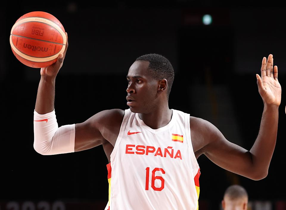 SAITAMA, JAPAN - AUGUST 03: Usman Garuba #16 of Team Spain reacts against Team United States during the second half of a Men's Basketball Quarterfinal game on day eleven of the Tokyo 2020 Olympic Games at Saitama Super Arena on August 03, 2021 in Saitama, Japan. (Photo by Gregory Shamus/Getty Images)