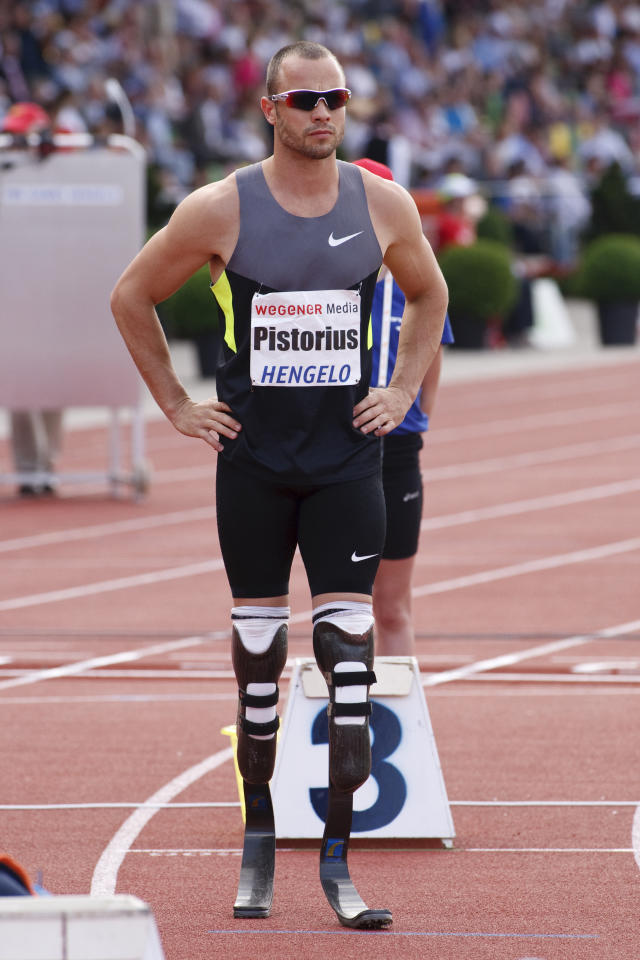 HENGELO, NETHERLANDS - MAY 27:Oscar Pistorius of South Africa competes in the Men's 100 meters Sprint during the FBK Games as part of the IAAF World Challenge at Fanny Blankers-Koen Stadium on May 27, 2012 in Hengelo, Netherlands. (Photo by Helene Wiesenhaan/Getty Images)