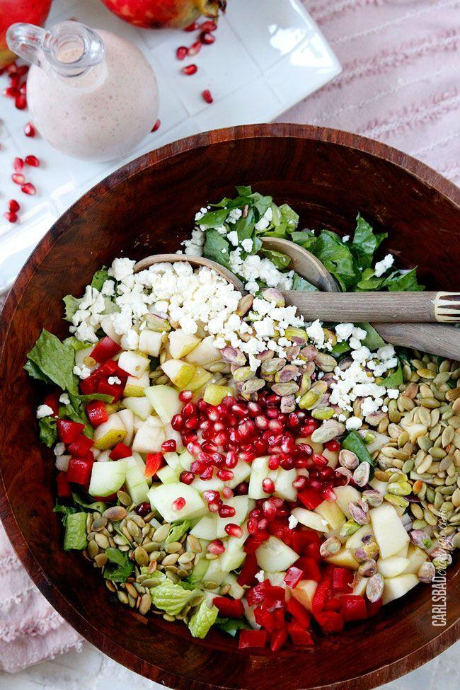 """<p>There is so much going on in this bowl, and we're totally down with it.</p><p>Get the recipe from <a href=""""http://www.carlsbadcravings.com/pomegranate-pear-pistachio-salad-creamy-pomegranate-dressing/"""" rel=""""nofollow noopener"""" target=""""_blank"""" data-ylk=""""slk:Carlsbad Cravings"""" class=""""link rapid-noclick-resp"""">Carlsbad Cravings</a>.<br></p>"""