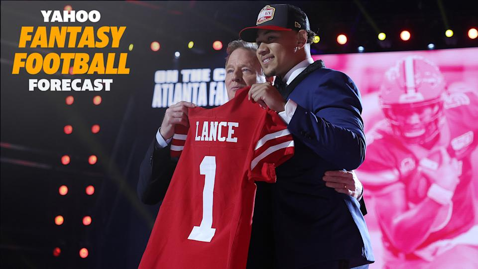 The San Francisco 49ers selected North Dakota State's Trey Lance third overall on Thursday night's draft. (Photo by Gregory Shamus/Getty Images)