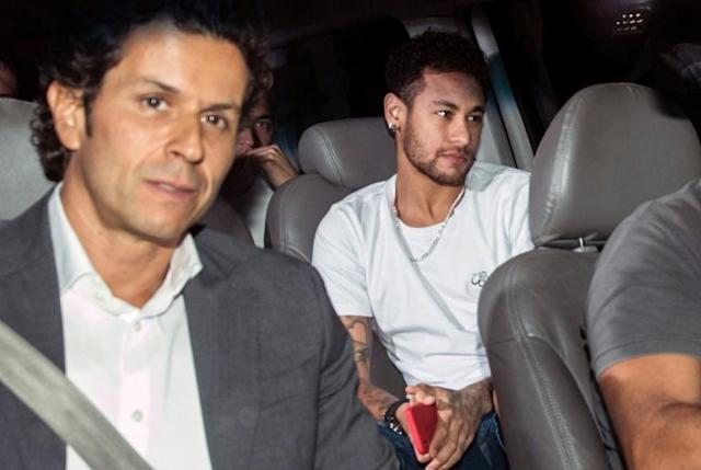 Neymar on his way to have surgery in Brazil earlier this month - he is currently recovering from a foot operation
