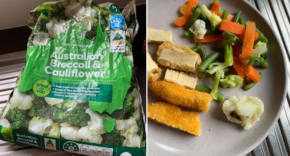 A Woolworths customer found a slug inside a packet of frozen vegetables