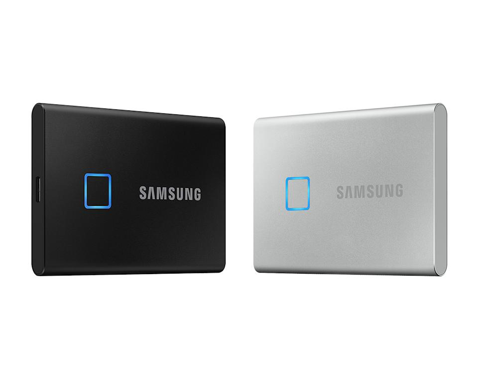 Samsung T7 Touch SSD in black and silver against a white background.