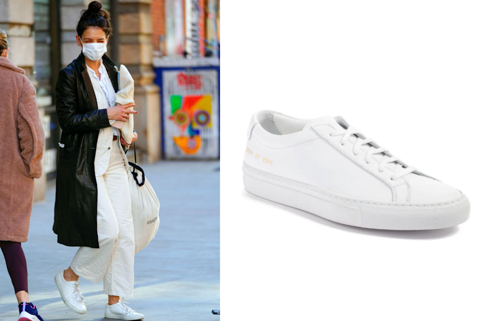 Katie Holmes wears Common Projects Original Achilles Sneaker. Images via Getty, Nordstrom.