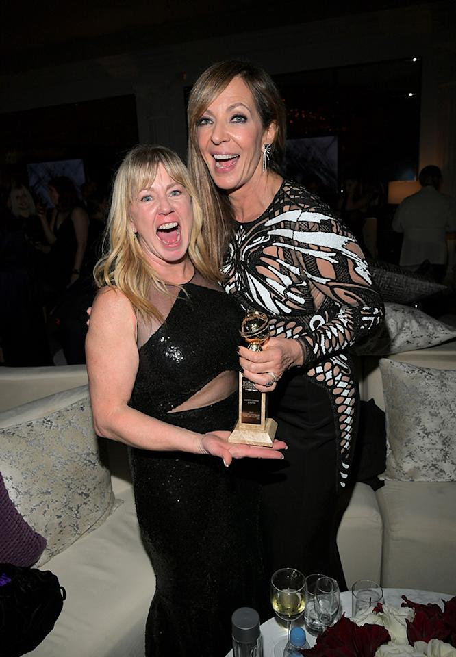 <p>Allison Janney, who won for her performance in <em>I, Tonya</em> celebrates with figure skater Tonya Harding at the 2018 InStyle and Warner Bros. 75th Annual Golden Globe Awards Post-Party at the Beverly Hilton Hotel. (Photo: Charley Gallay/Getty Images for InStyle) </p>