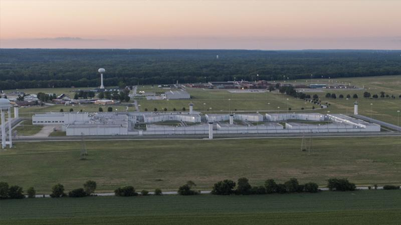 An aerial photo taken with a drone shows the US Penitentiary complex that houses the federal execution chamber in Terre Haute, Indiana, USA