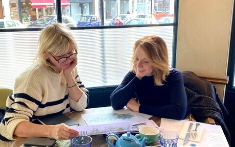 Gardener Jo Thompson and Zoe Ball discussing plans for the Friendship Garden