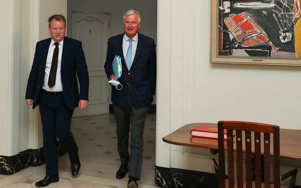 David Frost (left) and Michel Barnier, the UK and EU's chief negotiators. - Reuters
