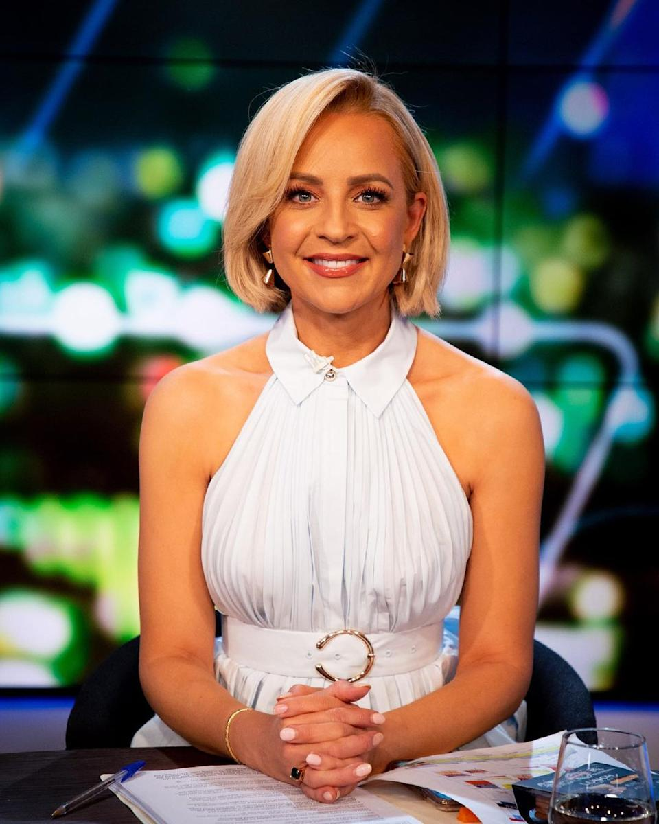 Carrie Bickmore wearing a white sleeveless top with a collar by Acler on The Project. Photo: Channel 10.