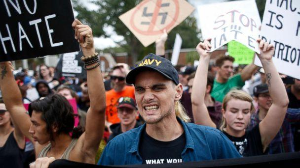 PHOTO: Demonstrators gather at the site of a planned speech by white nationalist Richard Spencer, who popularized the term 'alt-right', at the University of Florida campus, Oct. 19, 2017, in Gainesville, Florida. (Brian Blanco/Getty Images)