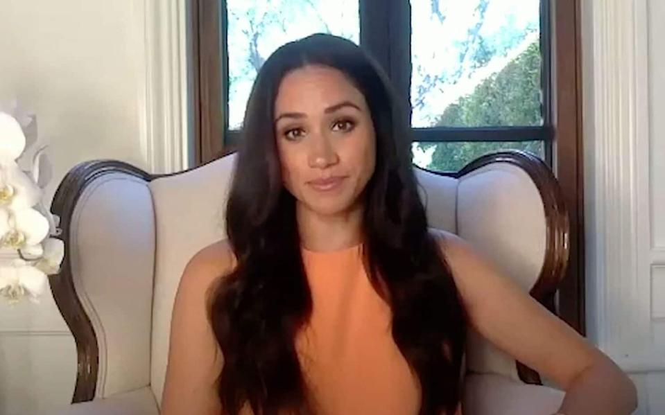 """Meghan Markle has revealed she is """"happy to be home"""" after a years-long absence from the US, saying she was ready to use her voice in a way she had """"not been able to of late."""" - The 19th News/YouTube"""
