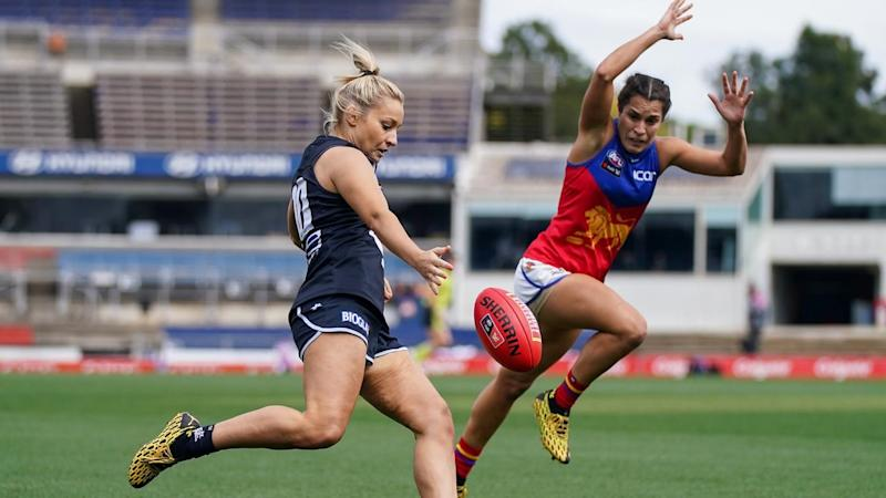 Carlton are through to their second-straight AFLW preliminary final, beating Brisbane by 29 points