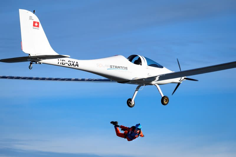 Parachutist makes world's first jump from solar-powered plane