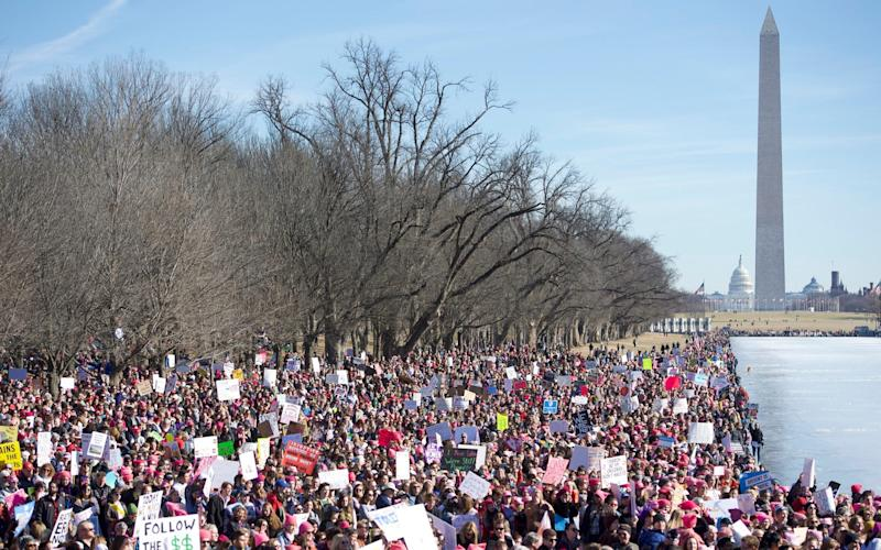 Thousands joined a rally in Washington, DC as women marched in cities across the US - Barcroft Media