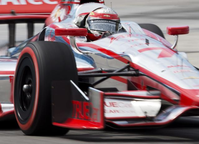 FILE - In this July 12, 2013, file photo, Sebastien Bourdais, of France, races during the qualifying session for the first of two IndyCar auto races this weekend in Toronto. Bourdais signed a two-year contract with KVSH Racing said three people familiar with the signing Wednesday, Oct. 16. (AP Photo/The Canadian Press, Mark Blinch, File)