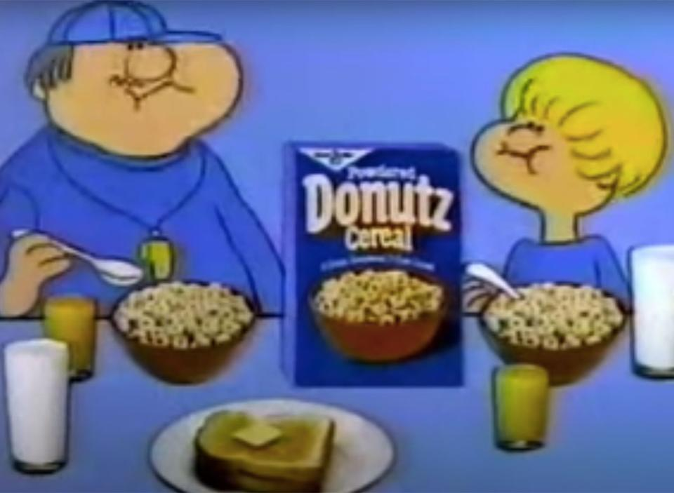 still from powdered donutz cereal commercial