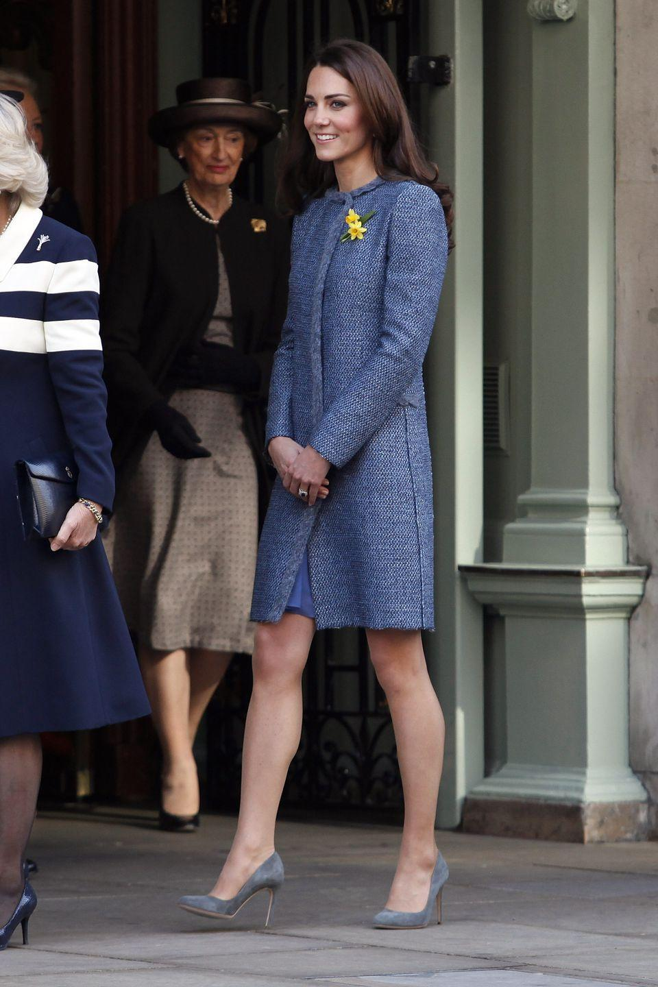 <p>Kate joined the Duchess of Cornwall and the queen at Fortnum and Mason in London wearing a muted blue coat from M by Missoni. </p>