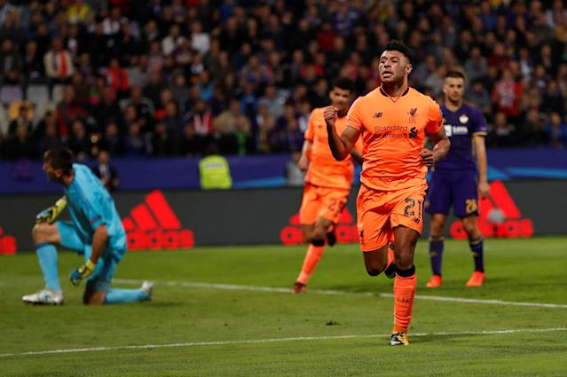 Soccer Football - Champions League - Maribor vs Liverpool - Ljudski vrt, Maribor, Slovenia - October 17, 2017 Liverpool's Alex Oxlade-Chamberlain celebrates scoring their sixth goal Action Images via Reuters/Paul Childs
