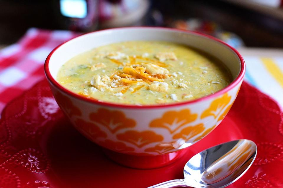 """<p>When soup season rolled around, you sought out an easy recipe full of broccoli, carrots, and cheese. Oh, baby. It's perfect. <br> </p><p><a class=""""link rapid-noclick-resp"""" href=""""https://www.thepioneerwoman.com/food-cooking/recipes/a82790/slow-cooker-broccoli-cheese-soup/"""" rel=""""nofollow noopener"""" target=""""_blank"""" data-ylk=""""slk:Get the Recipe!"""">Get the Recipe!</a></p>"""