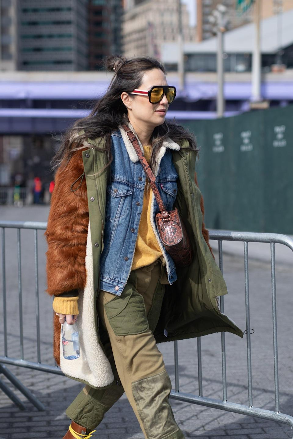 <p>Lean into the layered look and utilitarian vibes with an army jacket and denim to top off a pair of cargo fatigues. </p>