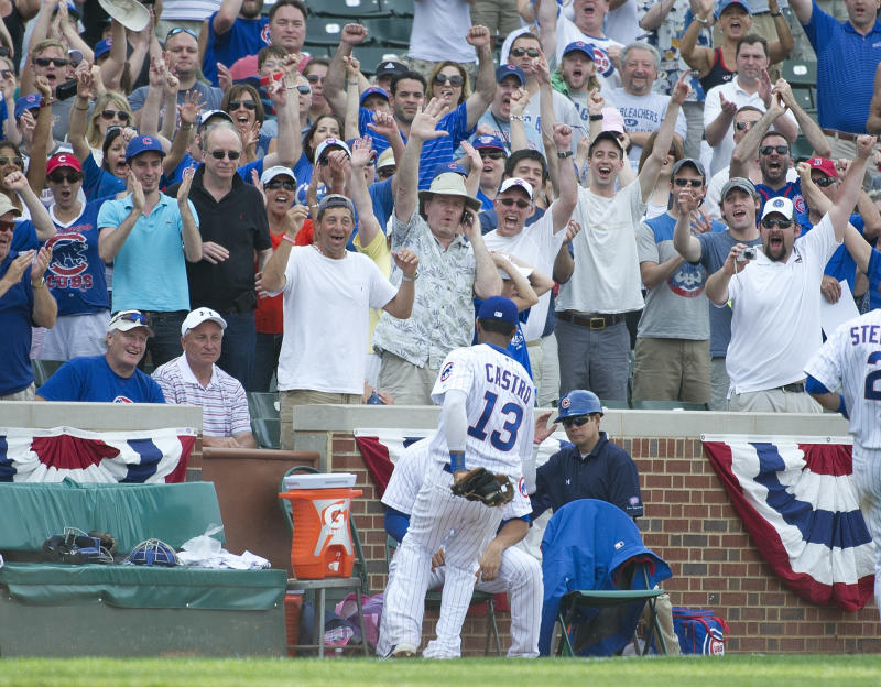 Chicago Cubs fans cheer after shortstop Starlin Castro caught a pop foul hit by San Diego Padres second baseman Andy Parrino to make the final out of a baseball game, Monday, May 28, 2012 in Chicago. The Cubs won 11-7 ending their streak of 12 straight losses.   (AP Photo/Brian Kersey)
