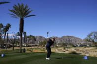 Brooks Koepka hits from the 18th tee during the first round of The American Express golf tournament on the Nicklaus Tournament Course at PGA West, Thursday, Jan. 21, 2021, in La Quinta, Calif. (AP Photo/Marcio Jose Sanchez)