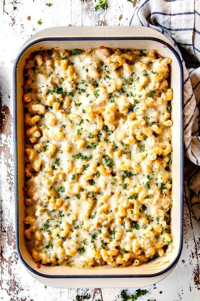 """<p>Feel free to completely customize this """"million dollar"""" bake with your favorite meat and cheese. No matter what you decide, it's bound to be yummy.</p><p><strong>Get the recipe at <a href=""""https://carlsbadcravings.com/chicken-alfredo-bake/"""" rel=""""nofollow noopener"""" target=""""_blank"""" data-ylk=""""slk:Carlsbad Cravings"""" class=""""link rapid-noclick-resp"""">Carlsbad Cravings</a>. </strong></p><p><strong><a class=""""link rapid-noclick-resp"""" href=""""https://www.amazon.com/Bakeware-Krokori-Rectangular-Aquamarine-Rectangula/dp/B074Z5X8MT/?tag=syn-yahoo-20&ascsubtag=%5Bartid%7C10050.g.3726%5Bsrc%7Cyahoo-us"""" rel=""""nofollow noopener"""" target=""""_blank"""" data-ylk=""""slk:SHOP BAKING DISHES"""">SHOP BAKING DISHES</a><br></strong></p>"""