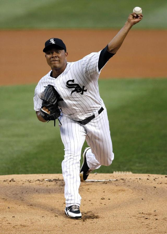 Chicago White Sox starting pitcher Jose Quintana delivers during the first inning of a baseball game against the Baltimore Orioles, Tuesday, Aug. 19, 2014, in Chicago. (AP Photo/Charles Rex Arbogast)