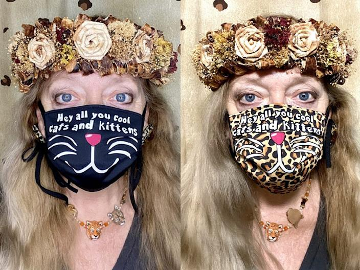 Carole Baskin models two face masks created by Tread365.