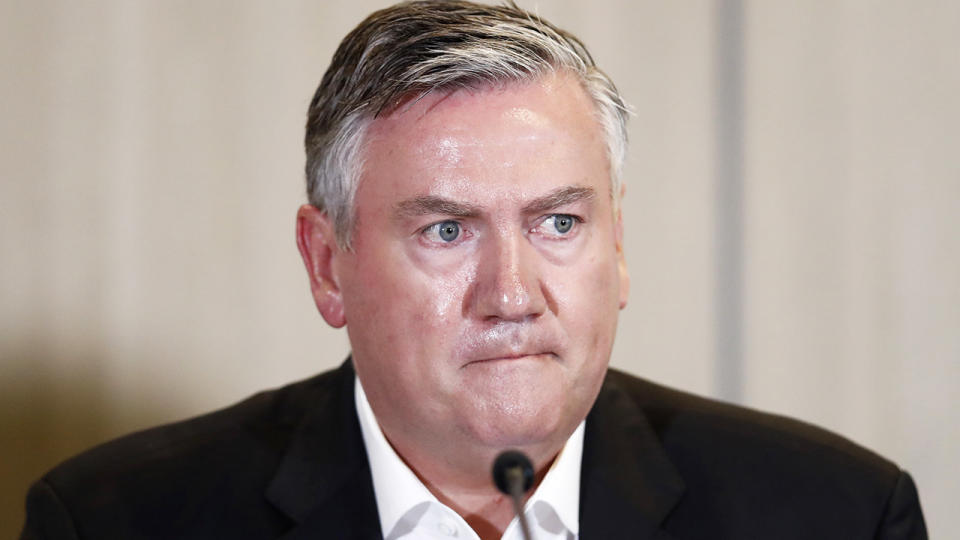 Eddie McGuire stepped down as Collingwood Magpies club president following the release of the 'Do Better' report, which exposed systemic racism at Collingwood. (Photo by Darrian Traynor/Getty Images)