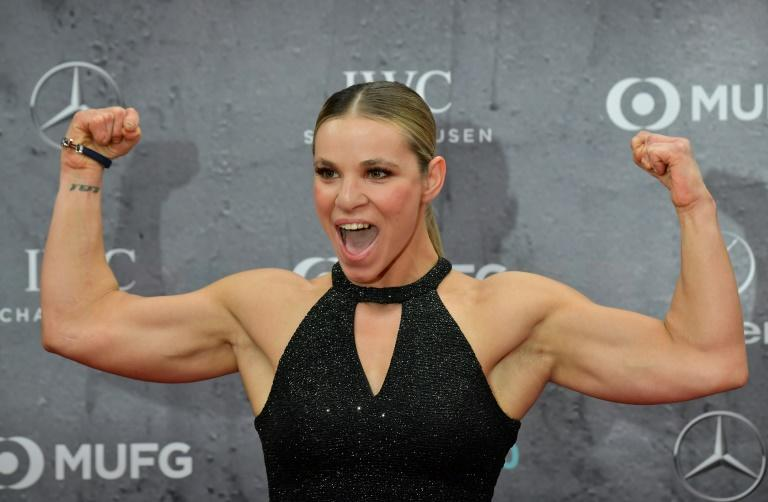 America's Oksana Masters poses on the red carpet at the 2020 Laureus World Sports Awards ceremony in Berlin on Monday. (AFP Photo/Tobias SCHWARZ)