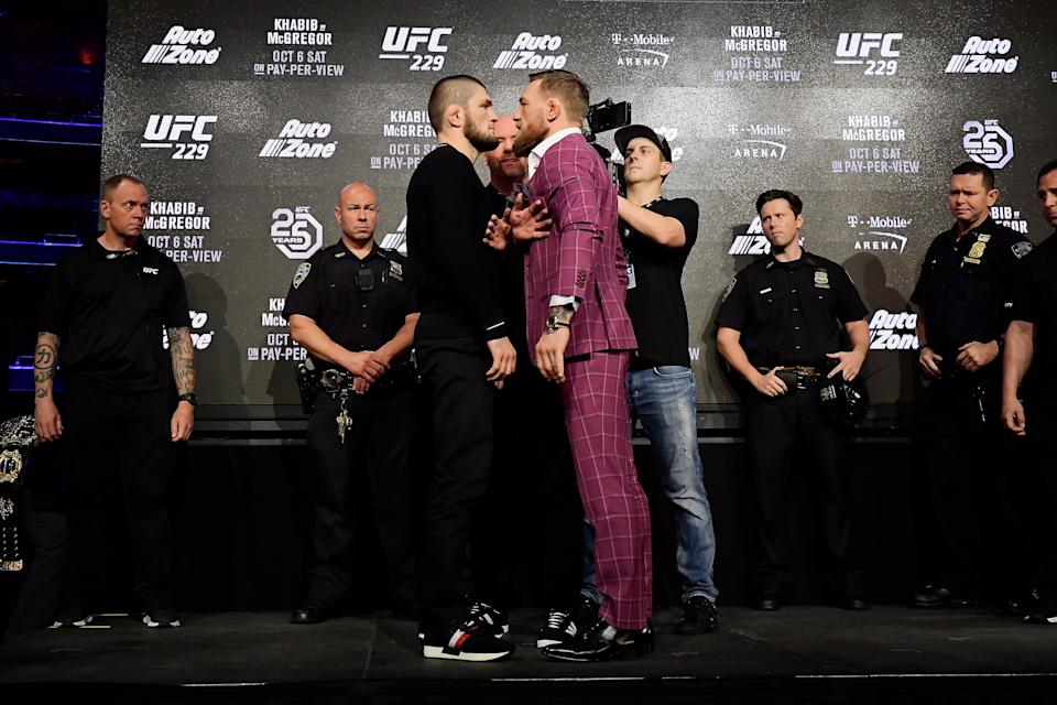 Lightweight champion Khabib Nurmagomedov faces-off with Conor McGregor during the UFC 229 presser at Radio City Music Hall on Sept. 20, 2018 in New York City. (Getty Images)