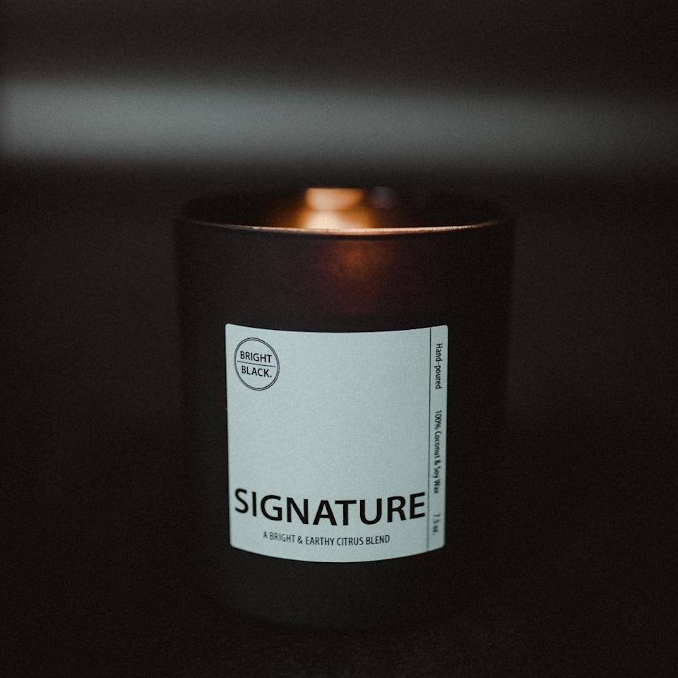 "<p><strong>Bright Black</strong></p><p>brightblackcandles.com</p><p><strong>$44.00</strong></p><p><a href=""https://brightblackcandles.com/products/signature-scent"" rel=""nofollow noopener"" target=""_blank"" data-ylk=""slk:Shop Now"" class=""link rapid-noclick-resp"">Shop Now</a></p><p>Bright Black is a family business, and the earth-and-citrus Signature candle tells that story; the brand details the inspiration behind each note, including daughter Elena's ""innocent and energetic brightness.""</p>"