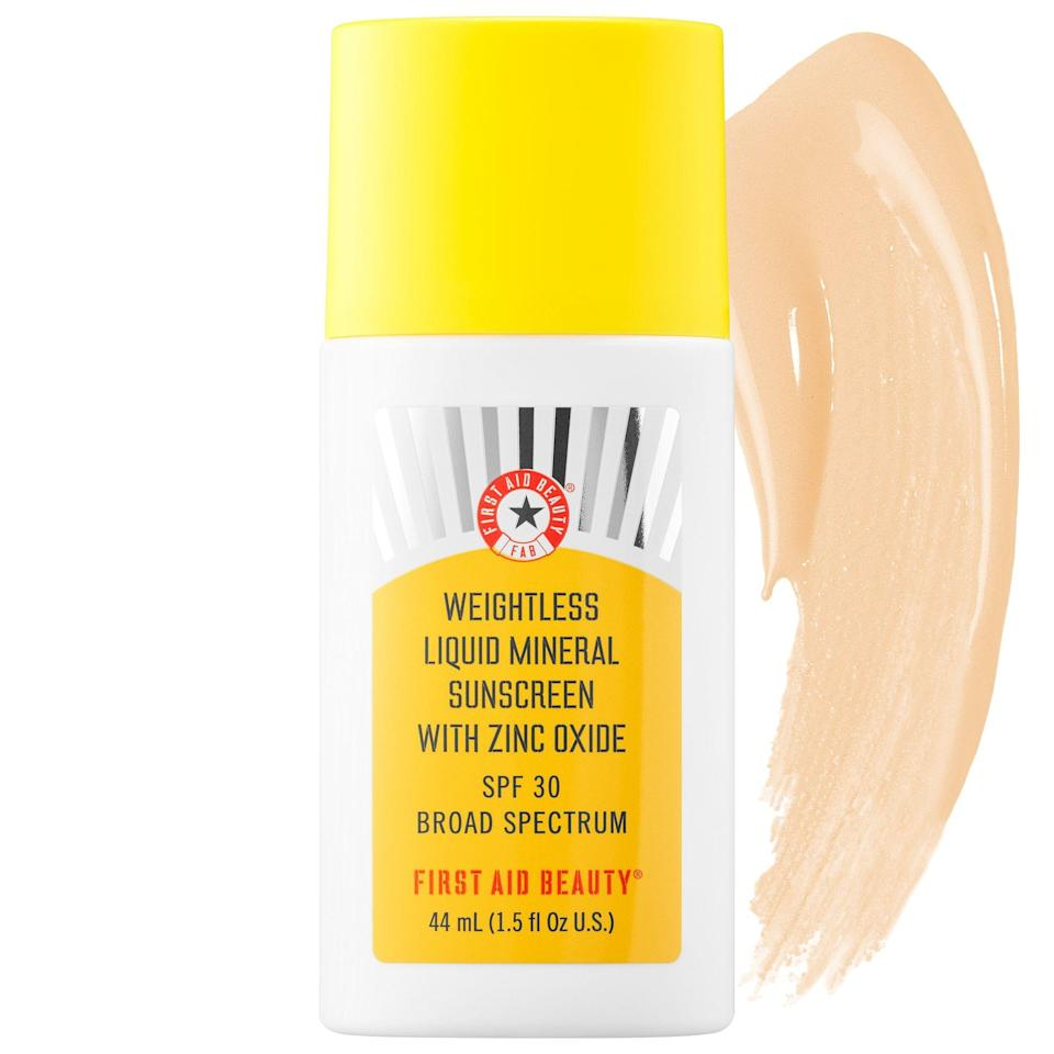 """<p><strong>First Aid Beauty</strong></p><p>sephora.com</p><p><strong>$34.00</strong></p><p><a href=""""https://go.redirectingat.com?id=74968X1596630&url=https%3A%2F%2Fwww.sephora.com%2Fproduct%2Ffirst-aid-beauty-weightless-liquid-mineral-spf-30-P456993&sref=https%3A%2F%2Fwww.seventeen.com%2Fbeauty%2Fmakeup-skincare%2Fg32853001%2Fbest-mineral-sunscreen-for-face%2F"""" rel=""""nofollow noopener"""" target=""""_blank"""" data-ylk=""""slk:Shop Now"""" class=""""link rapid-noclick-resp"""">Shop Now</a></p><p>This is the ultimate lightweight protection for anyone with oily skin. Grab this <a href=""""https://go.redirectingat.com?id=74968X1596630&url=https%3A%2F%2Fwww.sephora.com%2Fproduct%2Ffirst-aid-beauty-weightless-liquid-mineral-spf-30-P456993&sref=https%3A%2F%2Fwww.seventeen.com%2Fbeauty%2Fmakeup-skincare%2Fg32853001%2Fbest-mineral-sunscreen-for-face%2F"""" rel=""""nofollow noopener"""" target=""""_blank"""" data-ylk=""""slk:broad spectrum SPF from First Aid Beauty"""" class=""""link rapid-noclick-resp"""">broad spectrum SPF from First Aid Beauty</a>. Offering a super-sheer tint that works for all skin-tones, this antioxidant-packed liquid goes on smooth and dries with a nice matte finish. </p>"""
