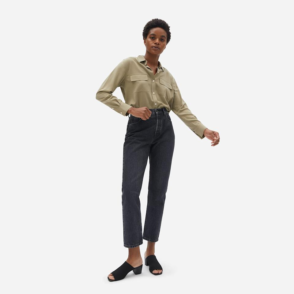 """<h2>The 90s Cheeky Straight Jean<br></h2><br>These cropped, straight-leg jeans have topped the brand's best-seller list for a few years now. Fall is the best time to invest in new jeans, so we're adding these to our carts in a cool black wash that echoes the dungarees' '90s inspiration.<br><br><strong>Everlane</strong> The '90s Cheeky Straight Jean, $, available at <a href=""""https://go.skimresources.com/?id=30283X879131&url=https%3A%2F%2Fwww.everlane.com%2Fproducts%2Fwomens-90s-cheeky-straight-jean-wshdblk"""" rel=""""nofollow noopener"""" target=""""_blank"""" data-ylk=""""slk:Everlane"""" class=""""link rapid-noclick-resp"""">Everlane</a>"""