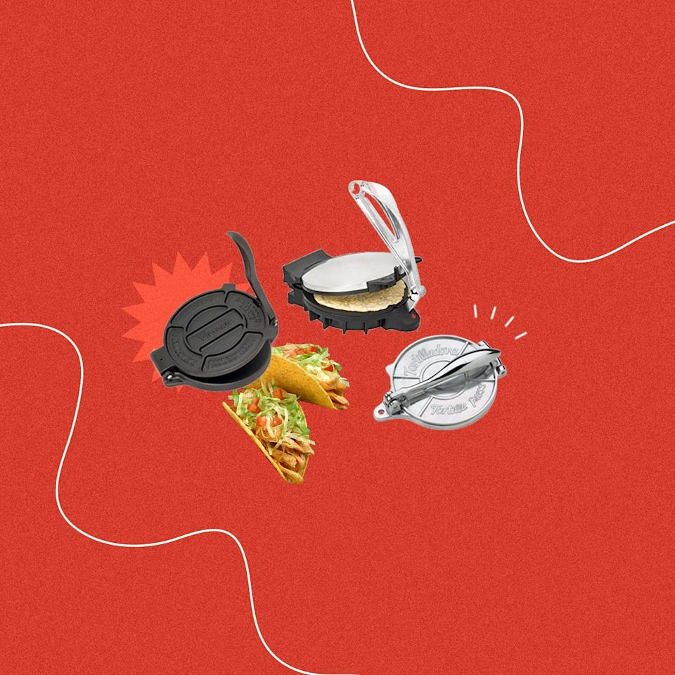 """<p>Looking to take your homemade Mexican dinners to the next level? It's time to invest in a tortilla press. According to Mexican-American chef and creator of the blog <a href=""""https://lolascocina.com/"""" rel=""""nofollow noopener"""" target=""""_blank"""" data-ylk=""""slk:Lola's Cocina"""" class=""""link rapid-noclick-resp"""">Lola's Cocina</a>, Lola Wiarco Dweck, it's the key to getting flat, even tortillas at home. """"I use a tortilla press quite often,"""" she says. """"It allows me to make perfectly round corn tortillas as well as some of the sweet toppings for some of my Mexican baked breads. A tortilla press offers precision in terms of shape and thickness that I have yet to perfect with a rolling pin.""""</p><p>Tortilla presses are wireless and heatless, and they're meant for corn tortillas—not flour—because of the difference in consistency. Check out Lola's favorite tortilla press, plus six more that the internet loves. And while you're at it, take a peek at our recipes for <a href=""""https://www.delish.com/cooking/recipe-ideas/a27133027/homemade-flour-tortillas-recipe/"""" rel=""""nofollow noopener"""" target=""""_blank"""" data-ylk=""""slk:homemade tortillas"""" class=""""link rapid-noclick-resp"""">homemade tortillas</a>, <a href=""""https://www.delish.com/cooking/recipe-ideas/recipes/a54465/easy-chicken-quesadilla-recipe/"""" rel=""""nofollow noopener"""" target=""""_blank"""" data-ylk=""""slk:quesadillas"""" class=""""link rapid-noclick-resp"""">quesadillas</a>, <a href=""""https://www.delish.com/cooking/recipe-ideas/a52606/beef-empanadas-recipe/"""" rel=""""nofollow noopener"""" target=""""_blank"""" data-ylk=""""slk:empanadas"""" class=""""link rapid-noclick-resp"""">empanadas</a>, <a href=""""https://www.delish.com/cooking/g2154/burrito-recipes/"""" rel=""""nofollow noopener"""" target=""""_blank"""" data-ylk=""""slk:burritos"""" class=""""link rapid-noclick-resp"""">burritos</a> and all of the other fun foods you can make with your new tortilla press. </p>"""