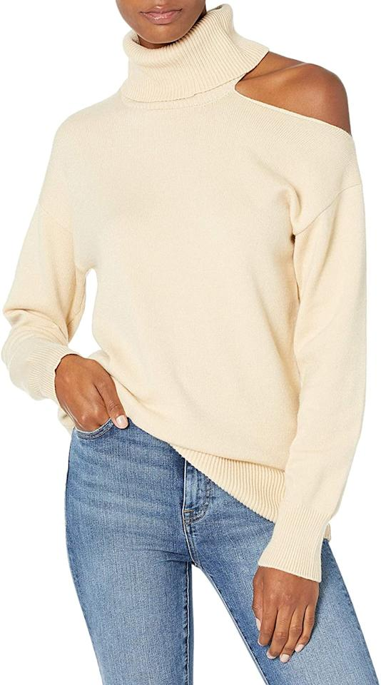 "<p>This <product href=""https://www.amazon.com/Drop-Womens-Josephine-Turtleneck-Sweater/dp/B08C8QNMFP/ref=sr_1_15?dchild=1&amp;qid=1602188672&amp;s=apparel&amp;sr=1-15&amp;th=1"" target=""_blank"" class=""ga-track"" data-ga-category=""internal click"" data-ga-label=""https://www.amazon.com/Drop-Womens-Josephine-Turtleneck-Sweater/dp/B08C8QNMFP/ref=sr_1_15?dchild=1&amp;qid=1602188672&amp;s=apparel&amp;sr=1-15&amp;th=1"" data-ga-action=""body text link"">The Drop Josephine Cutout Turtleneck Sweater</product> ($45) also comes in black.</p>"
