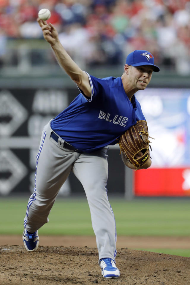 Toronto Blue Jays' Sam Gaviglio pitches during the first inning of a baseball game against the Philadelphia Phillies, Friday, May 25, 2018, in Philadelphia. (AP Photo/Matt Slocum)