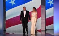 <p>Melania donned a white, off-the-shoulder gown by Hervé Pierre to the Freedom Inaugural Ball.</p>