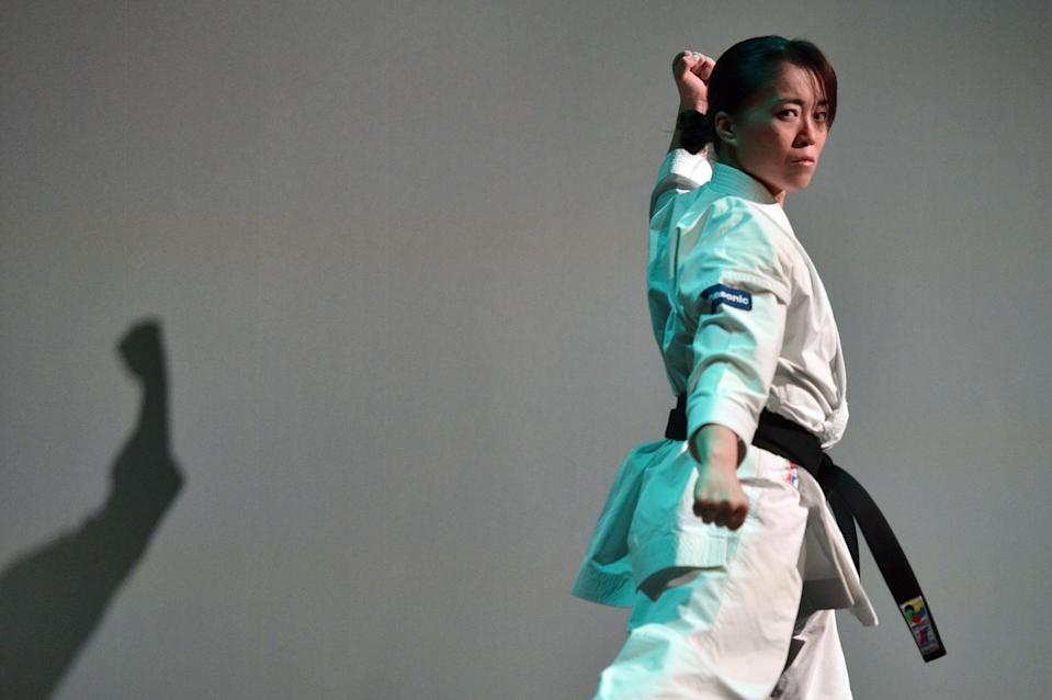 LAS VEGAS, NEVADA - JANUARY 06: Martial artist Sakura Kokumai performs during a Panasonic press event for CES 2020 at the Mandalay Bay Convention Center on January 6, 2020 in Las Vegas, Nevada. CES, the world's largest annual consumer technology trade show, runs January 7-10 and features about 4,500 exhibitors showing off their latest products and services to more than 170,000 attendees. (Photo by David Becker/Getty Images)