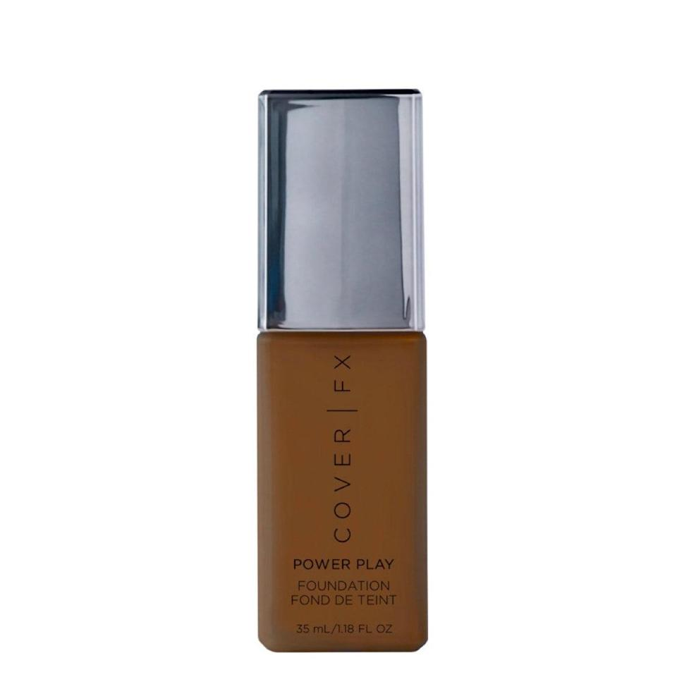 """""""The Cover FX Power Play foundation is great,"""" says Irwin. """"This liquid gives full coverage with a matte, waterproof finish. It also comes in 40 shades."""" In addition to being super lightweight, it's formulated with an """"ultrafine powder trio"""" to blur pores and keep oil at bay. $44, Ulta. <a href=""""https://shop-links.co/1709023052494049369"""" rel=""""nofollow noopener"""" target=""""_blank"""" data-ylk=""""slk:Get it now!"""" class=""""link rapid-noclick-resp"""">Get it now!</a>"""