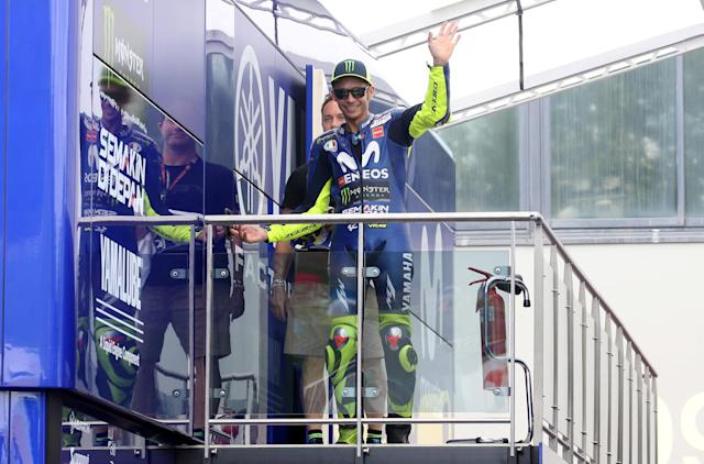 Motorcycling - MotoGP - Italian Grand Prix - Mugello Circuit, Scarperia, Italy - June 2, 2018 Movistar Yamaha MotoGP's Valentino Rossi gestures after qualifying REUTERS/Alessandro Bianchi