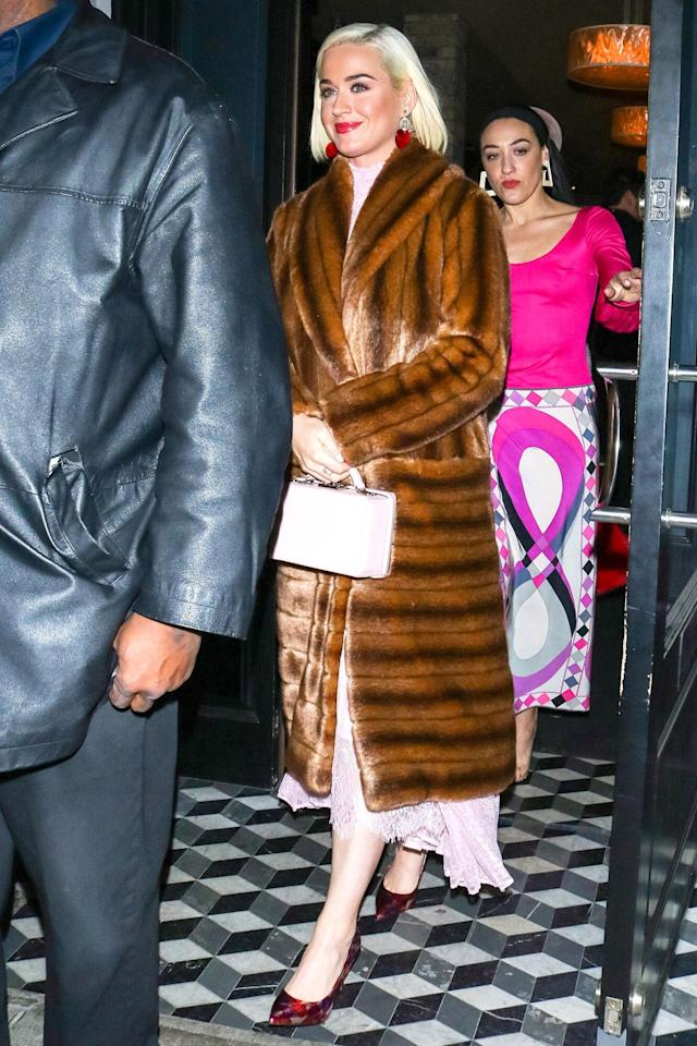 Katy Perry is spotted leaving Craig's Restaurant in Los Angeles on Valentine's Day.