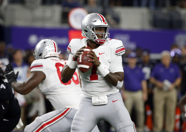 Ohio State quarterback Dwayne Haskins (7) looks to throw against TCU during the first half of an NCAA college football game in Arlington, Texas, Saturday, Sept. 15, 2018. (AP Photo/Michael Ainsworth)