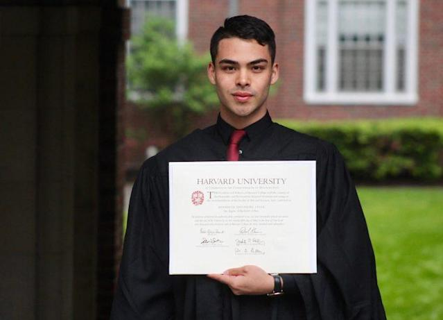 Shannon Satonori Lytle is becoming a star on social media after sharing his story of hardship and struggle to graduate from Harvard. (Photo: Facebook)